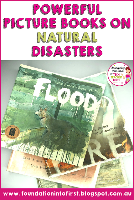 Powerful picture books on natural disasters. Use illustrated texts to engage elementary students in History, English Language Arts, Science and Visual Arts. Ideas for teachers for engaging primary students. #foundationintofirst #teacherblog #teaching #ideas #picture #books