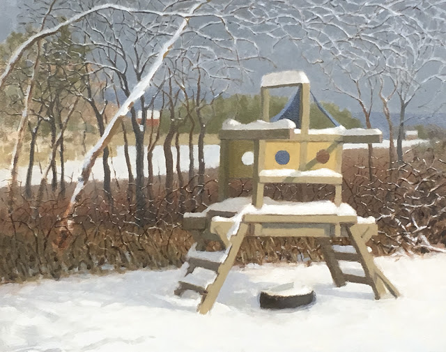 Oil painting of kid's climbing structure in snow with woods and distant houses in background