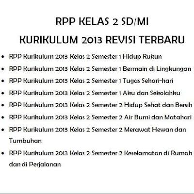 Memasuki awal semester satu tahun pelajaran  RPP Kelas 2 SD/MI Kurikulum 2013 Revisi Terbaru