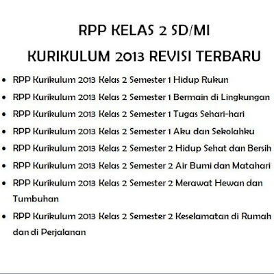 RPP Kelas 2 SD/MI Kurikulum 2013 Revisi Terbaru