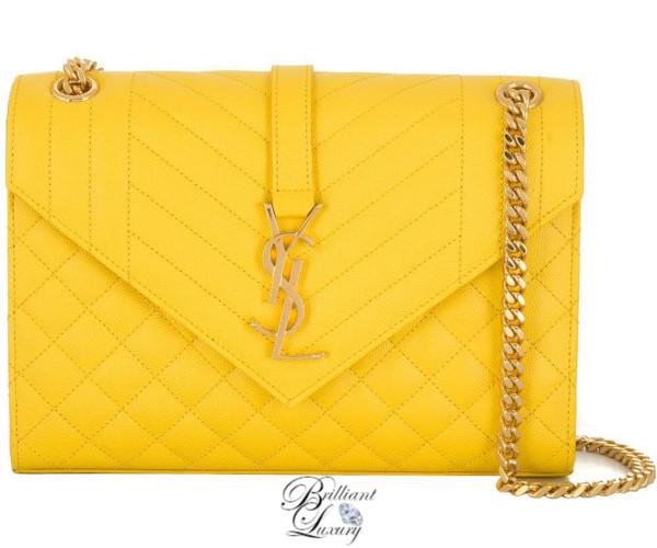 Brilliant Luxury♦Saint Laurent Envelope medium shoulder bag in yellow