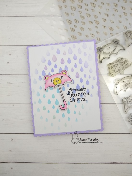 Forecast: blue skies ahead by Diane features Umbrella Pals, Raindrop, and Frames & Flags by Newton's Nook Designs; #newtonsnook