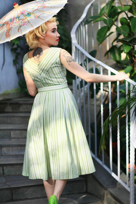 Cherise Design  vintage style green Shelley Dress