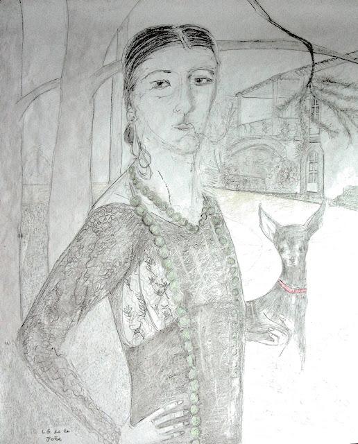 Retrato de Herminia Borrell en su pazo de Sigrás. L.G. de la Peña 2020