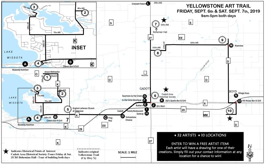 Yellowstone Art Trail: 2019 BROCHURE MAP on east troy wi map, appleton wi map, milwaukee wi map, menomonie wi map, cedarburg wi map, wausau wi map, oshkosh wi map, sarona wi map, cornell wi map, minocqua wi map, shawano wi map, sheboygan wi map, racine wi map, trade lake wi map, nekoosa wi map, cudahy wi map, janesville wi map, wisconsin wi map, colby wi map, menasha wi map,
