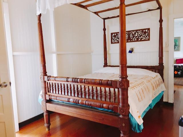 queen bed in Bedroom 2 at Dreams Come True on Lana'i Island in Hawai'i