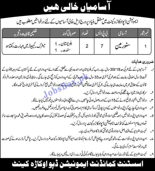 Army Ammunition Depot Okara Jobs 2021 in Pakistan
