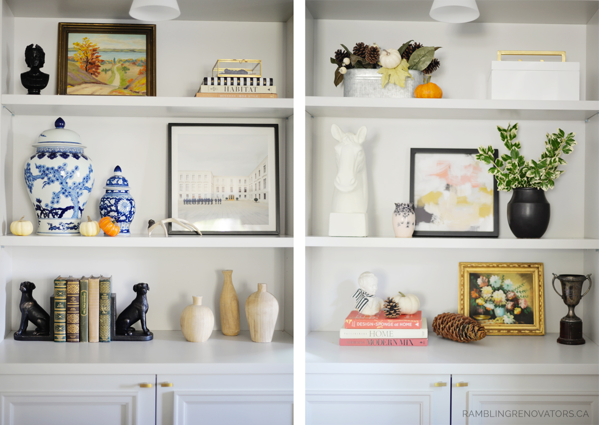fall bookcase styling