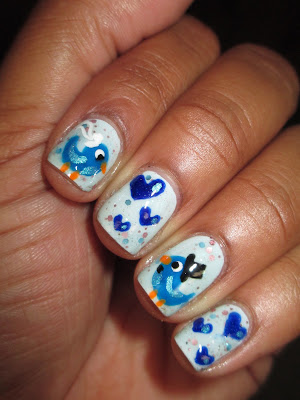 Essie  Borrowed & Blue, Finger Paints  Inkblot Blue, Revlon  Royal, Revlon  Whimsical, Savina  Sparkling Water, wedding, birds, blue birds, hearts, love, nail art, nail design, mani