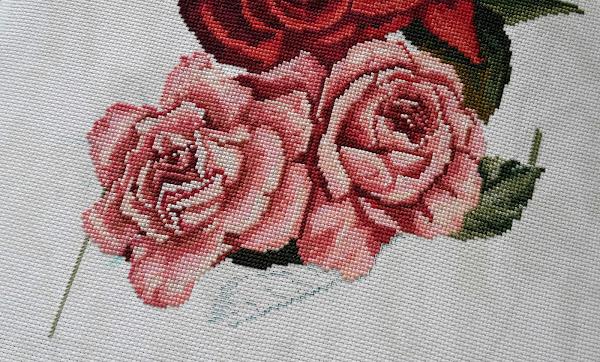 """""""Роскошный шелк"""" от """"Золотое руно"""" - вышивка крестом - красные розы - процесс"""