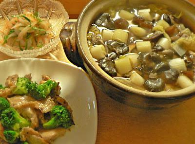 夕食の献立 タラ汁 イカの和え物 鶏の炒め物