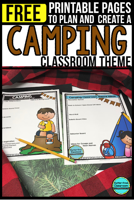 CAMPING Theme Classroom: If you're an elementary teacher who is thinking about a CAMPING theme then this classroom decor blog post is for you. It'll make decorating for back to school fun and easy. It's full of photos, tips, ideas, and free printables to plan and organize how you will set up your classroom and decorate your bulletin boards for the first day of school and beyond. Also good for camper, outdoors, mountain, campfire, wilderness, and cabin themes.