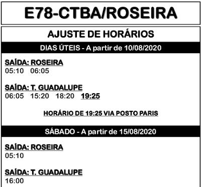 Horário de ônibus E78 CURITIBA/ROSEIRA 2020 | São José dos Pinhais PR
