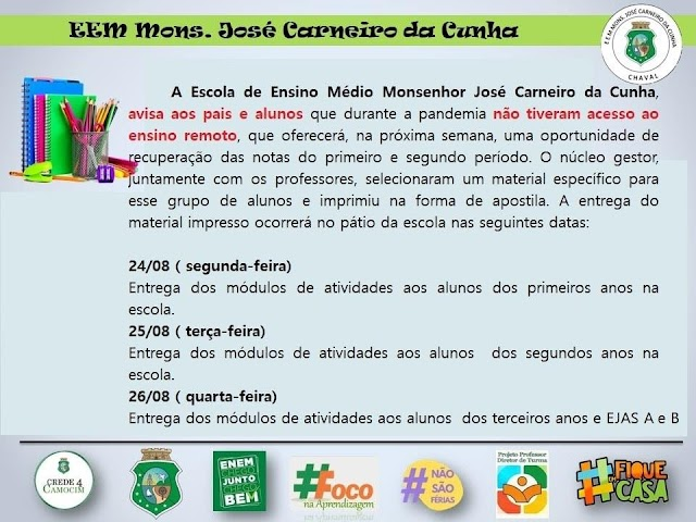 Nota Informativa - Escola Monsenhor José Carneiro da Cunha