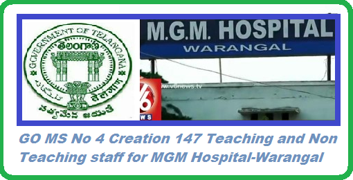 GO MS no 4 Creation of 147  Teaching and Non Teaching staff to MGM Hospital Warangal  Allocation of Teaching and Non Teaching staff to MGM Hospital Warangal MGM Hospital, Warangal - Creation of (147) Teaching and Non-Teaching posts - Orders – Issued. http://www.tsteachers.in/2016/01/go-ms-no-4-creation-of-147-teaching-and-non-teaching-staff-to-mgm-hospital-warangal.html