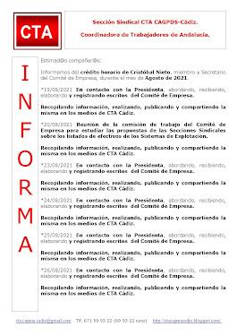 C.T.A. INFORMA CRÉDITO HORARIO CRISTOBAL NIETO, AGOSTO 2021