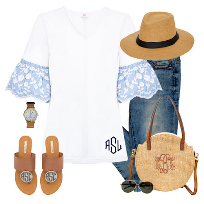 monogram bell sleeve top outfit