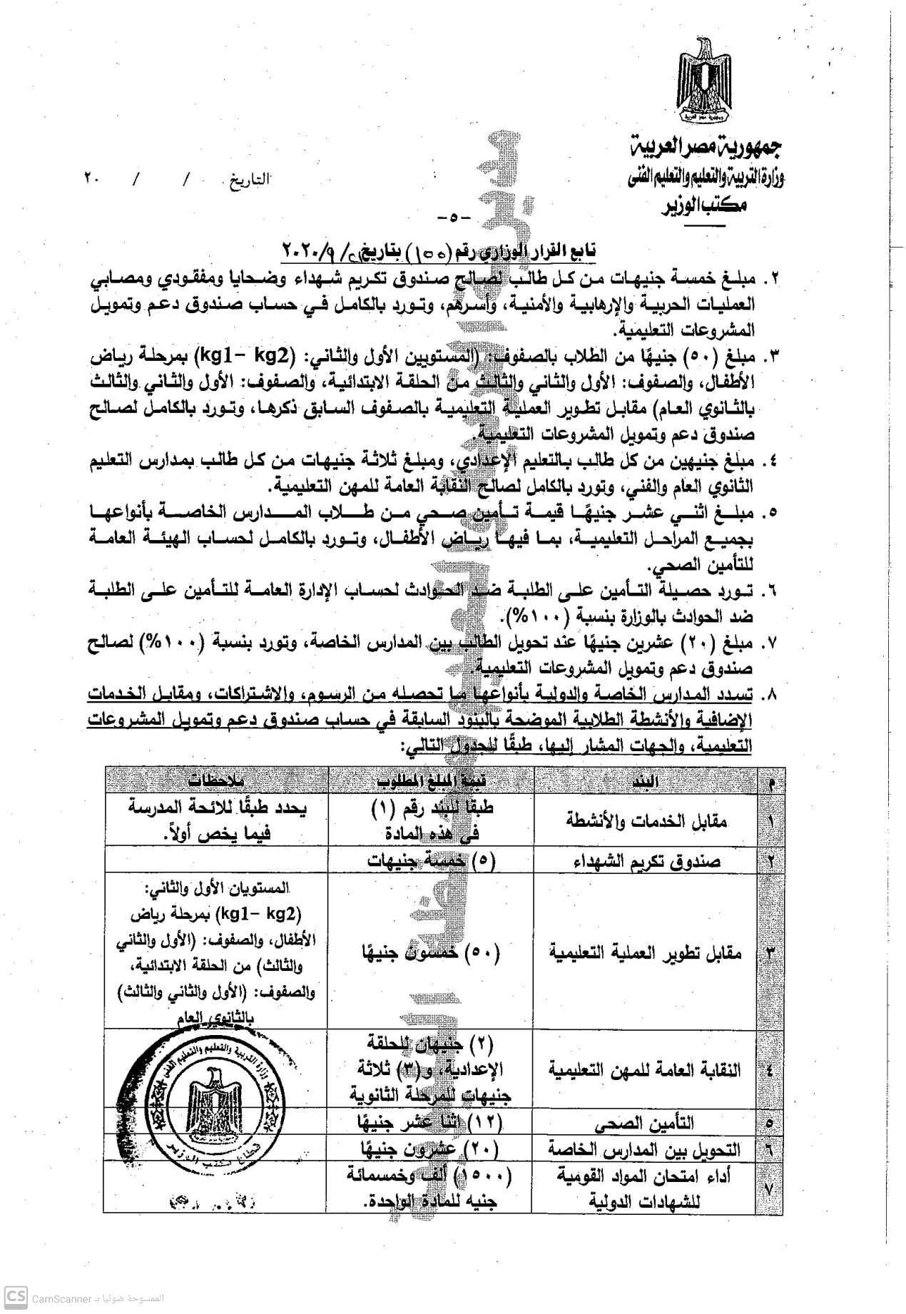 """رسميا.. المصروفات الدراسية للعام ٢٠٢١/٢٠٢٠.. من ٢٠٠ لـ ٥٠٠ جنية """"مستند"""" 5"""