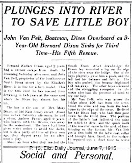 """John Van Pelt, Boatman, Dives Overboard as 9-Year-Old Bernard Dixon Sinks for Third Time -- His Fifth Rescue."" Article describes the events that lead up to Bernard's mishap, and John Van Pelt's brave and quick action to save him."