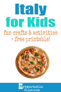 Learning about Italy is fun and hands-on with these free crafts, ideas, and activities for kids! #Italy #italian #educational