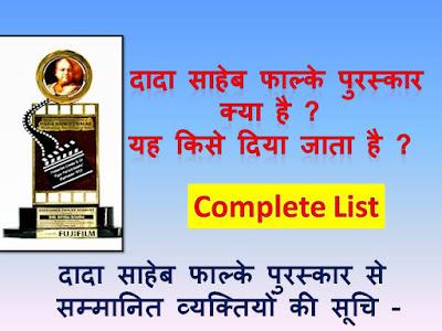 दादा साहेब फाल्के पुरस्कार से समानित व्यक्ति  - पूरी सूचि (List) | Dada Saheb Falke Award Wining Person Complete List In hindi