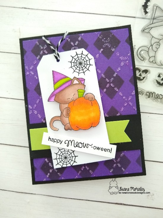 Happy meow-oween by Diane features Argyle, Newton's Perfect Pumpkin, and Frames & Flags by Newton's Nook Designs; #newtonsnook