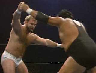 NWA Starrcade 1985 - Arn Anderson locks up with Wahoo McDaniel