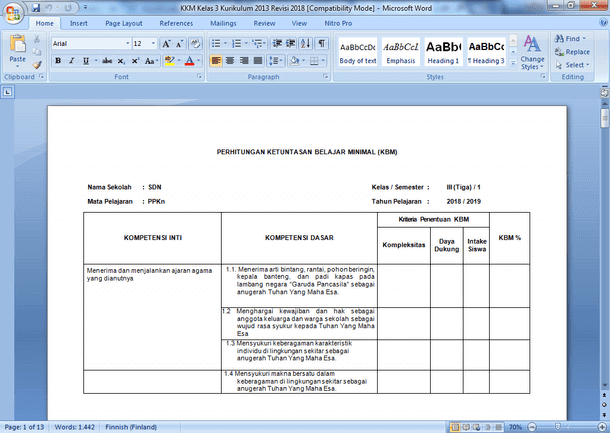 Contoh Format KKM Kelas 3 Kurikulum 2013 Revisi 2019-2020