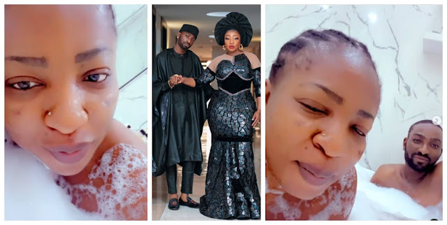 Watch the Lovely moment Anita Joseph shares video of she and her Husband in a Bathtub (Video)