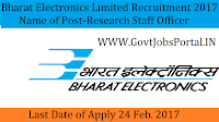 Bharat Electronics Limited Recruitment 2017– (Research Staff) Officer