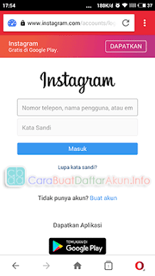 masuk instagram lewat opera mini browser