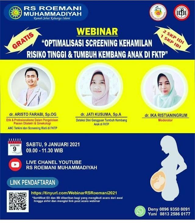 """Webinar  """"Optimalisasi Screening Kehamilan Risiko Tinggi & Tumbuh Kembang Anak di FKTP"""""""