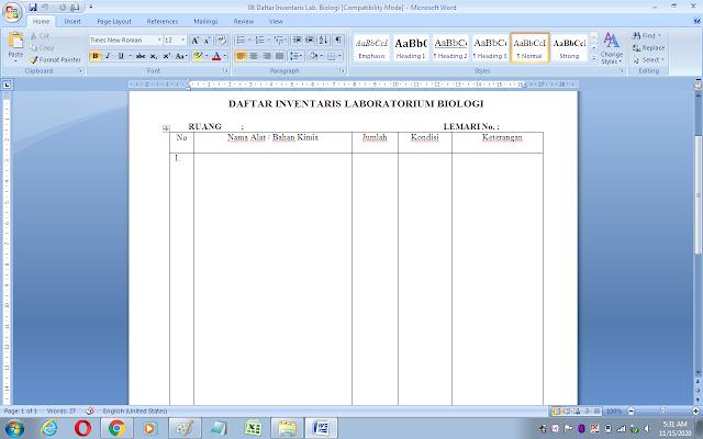 Format daftar inventaris alat laboratorium biologi