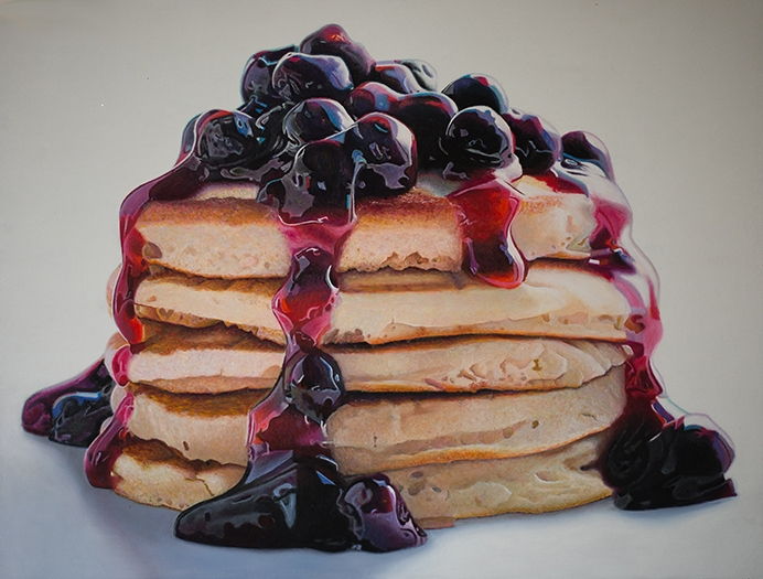 05-Blueberry-Pancakes-Mary-Ellen-Johnson-A-Sweet-Tooth-s-Dream-in-Food-Art-Paintings-www-designstack-co