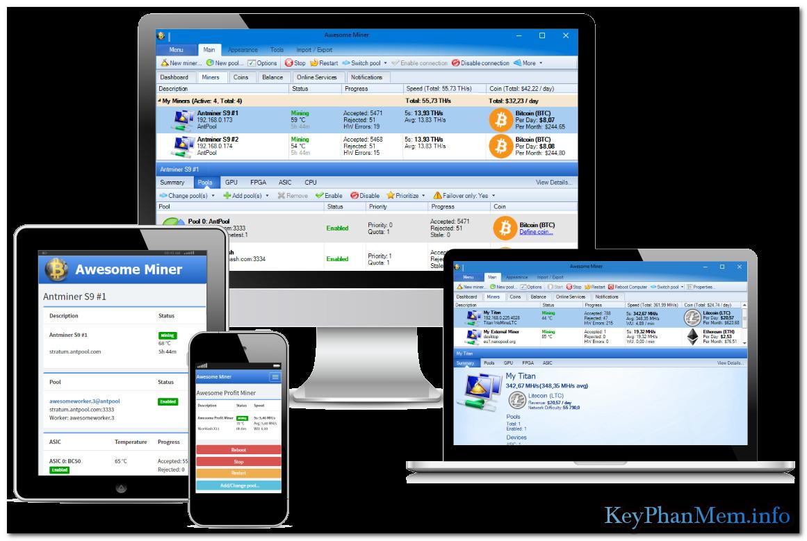 Download Awesome Miner 5.1.1 Ultimate Plus Full Key, Phần mềm Quản lý và giám sát khai thác Bitcoin, Litecoin, Ethereum