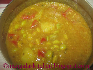 Potato Lima Beans gravy. Side dish for Idli, Dosas, Chappathis or any Tiffin Variety. Traditional Grandmothers Recipe