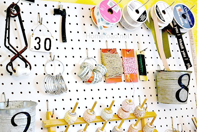 organize the craft room using peg board