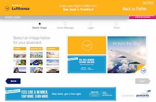 Lufthansa in-flight postcard screen with Flight Level Media software