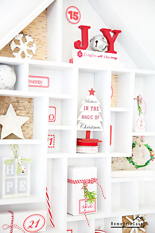White and red decorative gifts and decor on advent calendar