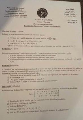 Examen de probabilités avec corrigé