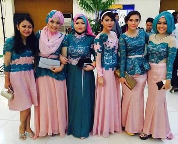 Foto Baju Muslim Kebaya Modern Kombinasi Brokat Untuk Pakaian