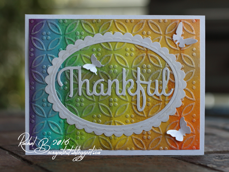 Scrapatout - Handmade card, Impression Obsession dies, Thankful, Butterflies, Rainbow, Gelatos, Distress Inks, Spellbinders