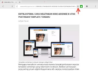 tampilan halaman pada browser melalui opsi tampilan sederhana