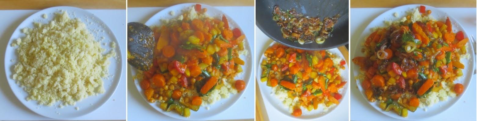 Zubereitung Couscous mit Kichererbsen - das Anrichten