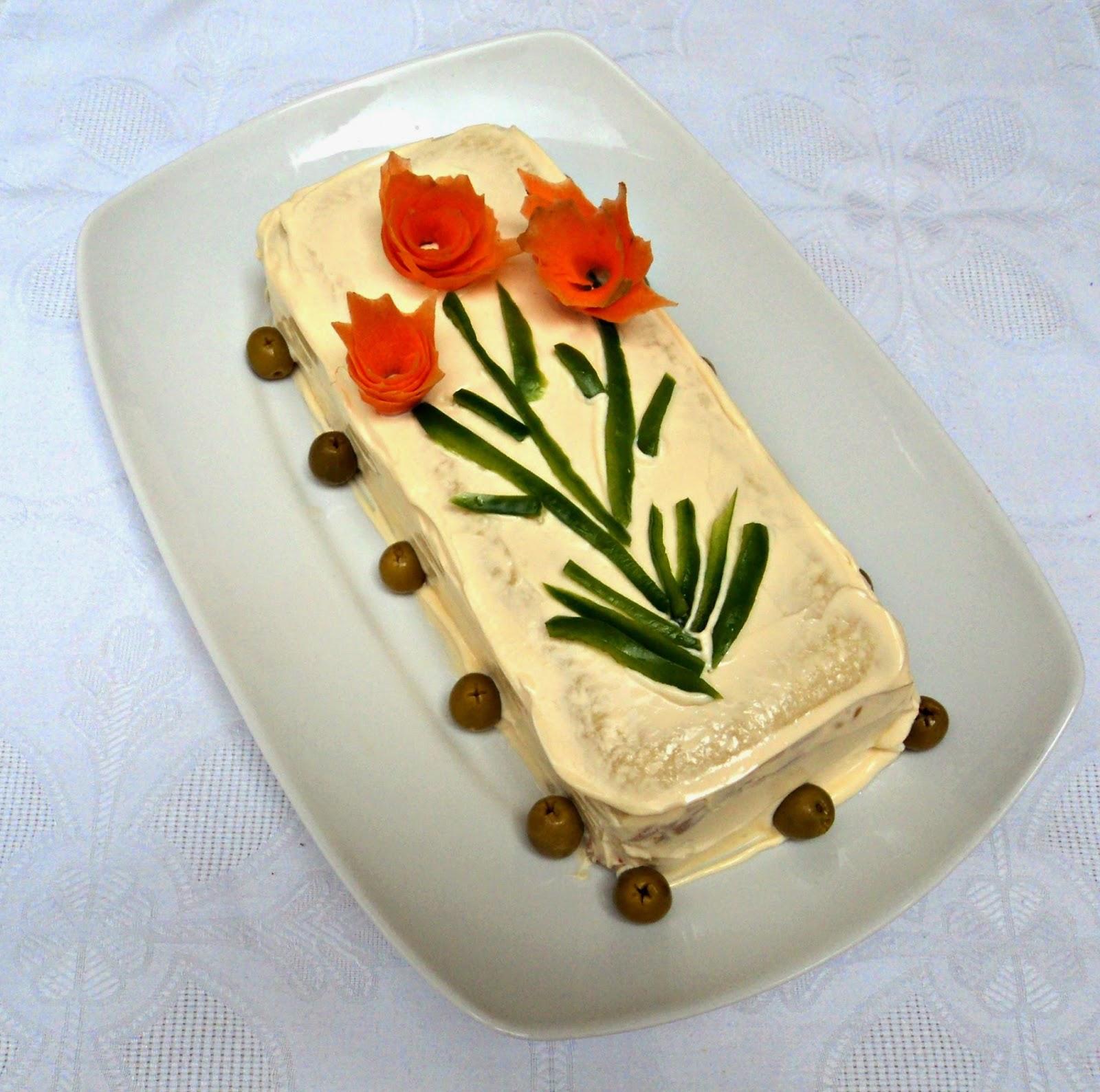 receta casera de pastel frío pan molde con cangrejo