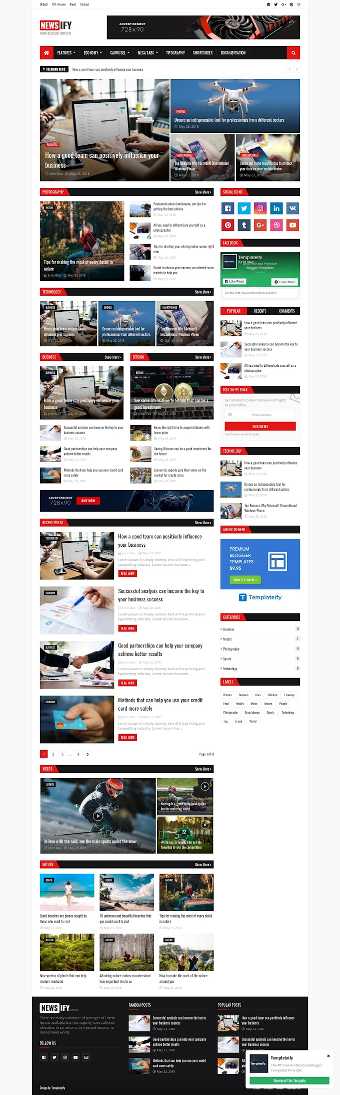 Review tentang Newsify Blogger Template