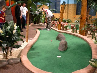Minigolfer Richard Gottfried playing in a League Match at Adventure Island Mini Golf at Star City, Birmingham