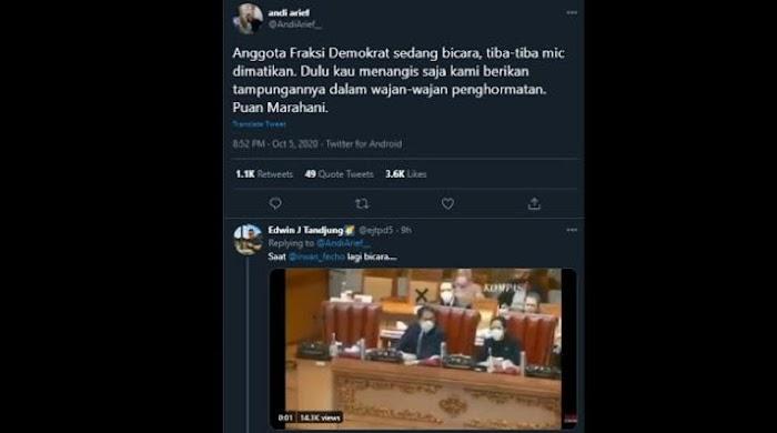 Mikrofon Dimatikan saat Demokrat Interupsi, Andi Arief Sindir Dulu Puan Nangis Disediakan 'Wajan'