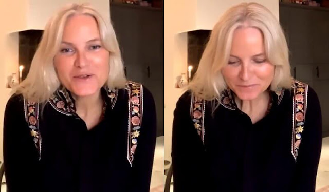 Crown Princess Mette Marit wore a rachel embroidered wool and cashmere blouse from Vilshenko. American author Cheryl Strayed