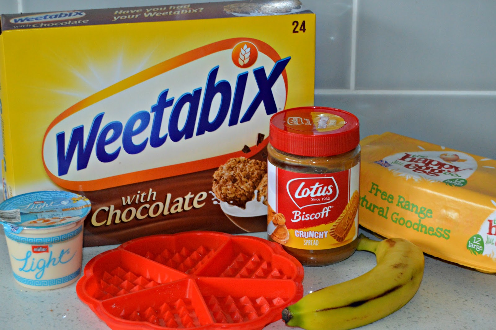 Ingredients for Banana and Biscoff Waffles